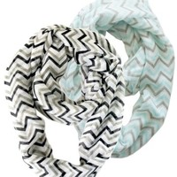 2 Pack of Soft Light Weight Zig Zag Chevron Sheer Infinity Scarf (Black/Gray/White and Teal/Gray/White)