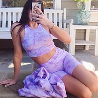 2020 summer new women's fashion printed  vest high waist bag hip five-point pants casual suit women purple vest with shorts