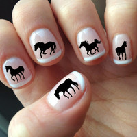 60 DECALS Black HORSE SILHOUETTES - Nail Wraps Nail Art Water Slide Transfers Nail Stickers