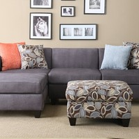 2 pc charcoal microfiber sectional sofa with reversible chaise with 4 accent pillows