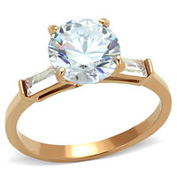 Stunning Rose Gold CZ Engagement Stainless Steel Ring