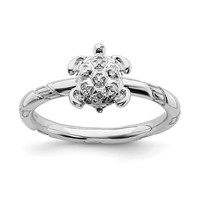 Sterling Silver Stackable Expressions Diamond Turtle Ring
