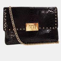 Michael Kors Python Handbag Black Leather Purse Bag with Gold Chain