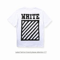 Short Sleeve Stripes Couple T-shirts [10176381767]
