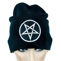 Inverted Woven Gray Pentagram Beanie Occult Black Metal Cap