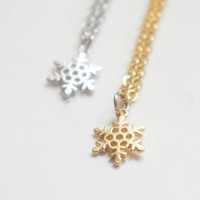 Tiny Gold Snowflake Necklace Simple Everyday Jewelry