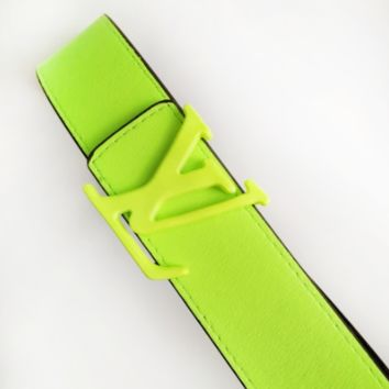 LV fashion hot selling belt for men and women printed color belt patchwork LV print+Green