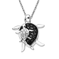 """10k White Gold Black and White Diamond Mother and Baby Turtle Pendant Necklace (.08 cttw), 18"""""""