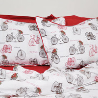 Old Bicycle Bedding Set in Sepia Brown and Burgundy Red for Queen, Double, Full – 6-pcs Set of Duvet Cover, Flat Sheet, Shams & Pillow Cases