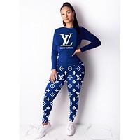 LV Louis Vuitton Women High Collar Sweater Pants Set Two-Piece Blue