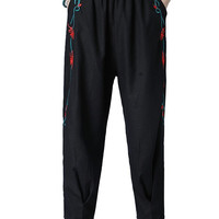 Linen Embroidery Loose Pants with Pockets