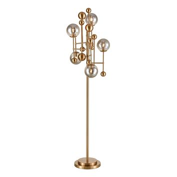 Ballantine 5-Light Floor Lamp in Aged Brass with Mouth-blown Smoked Glass Orbs