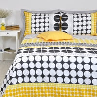 Geometric Duvet Cover Set in Full Queen King Size, Black Yellow Gray Big Polka Dot Print Cotton Bedding Set, Modern Duvet Cover & Pillowcase