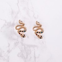 Gold Snake Diamante Studs