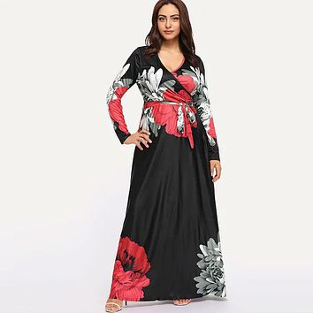 New Flower Print V Neck Lace-up Long Sleeve Vacation Maxi Dress