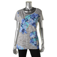 Style & Co. Womens Short Sleeves Graphic Casual Top
