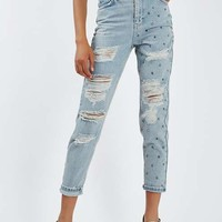 MOTO Stud Super Rip Mom Jeans - Jeans - Clothing