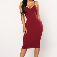 Elva Midi Dress - Wine