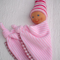 Waldorf Doll, Waldorf Baby Doll, Bunting Blanket Doll for baby girls, Security Blanket, Baby shower gift, Dou dou, Handmade