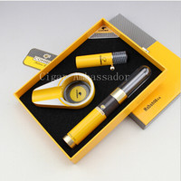 Cool COHIBA Classical Luxury Gadget Yellow Windproof Torch Jet Flame Cigarette Cigar Lighter Travel Tube Metal Ashtray Gift Set