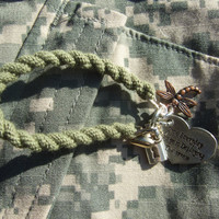 Army green boot band Blouser Bracelet with charms by Jennspieces