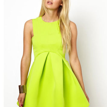 Sleeveless High Waist Sheath Mini Skater Dress