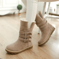 Winter new women's fur boots to wear two snow boots flat with warm mid-calf boots Beige