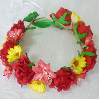 Sunflower Rose crown Big Red Rose headpiece / Flower crown/ Rose headpiece