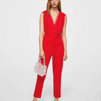 Lace appliqué jumpsuit - Women | MANGO USA