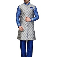 Gray Ghicha Silk Indian Wedding Indo-Western Sherwani For Men