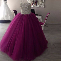 Sparkly Sweetheart Beaded Ball Gown Prom Dresses 2017 Real Picture Tulle Floor Length Sleeveless Puffy Long Prom Dress