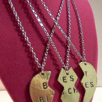 Best Bitches Silver Brass Necklace Expletive Friends Forever Heart Pieces of 3 Ménage à Trois/THREESOME Brass Split Heart
