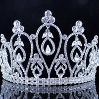 Janefashions Dangle Clear Austrian Crystal Rhinestone Tiara w/ Hair Combs Crown Pageant T1887