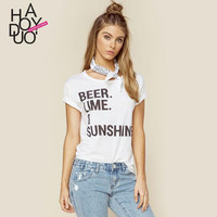 BEER LIME summer new fashion round neck letters printed loose short sleeve womenT shirt lady fashion t shirts