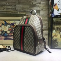 Ophidia shoulder backpack classic GG fabric with brown woven cowhide VVT