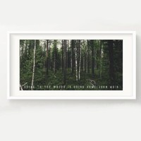 """John Muir Forest Print - """"Going to the woods is going home."""" - Nature, Quote, Panoramic, Trees, Poster, Picture 5x10"""