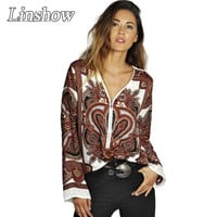 Vintage Floral Printed Womens Shirts V Neck Loose Casual Office Women Blouse Long Sleeve 2015 Branded New Spring Woman Tops