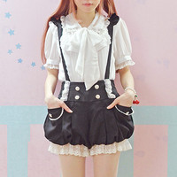 Black Pink Kawaii Overalls Summer New Lace Flounces Double Breasted Lantern Suspender Shorts Lolita Sweet Jumpsuits Cute Rompers