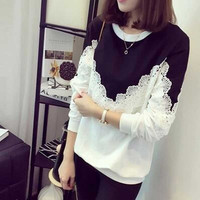 New 2016 T Shirt Women Fashion Brand Long Sleeve Sexy Lace Crochet T-Shirt Embroidery Slim Casual Tops Plus Size DP861179