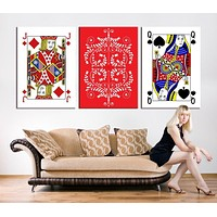 Large CANVAS PRINTING Poker Set with Isolated Cards Art Print Set Playing Cards 3 Panel Wall Art