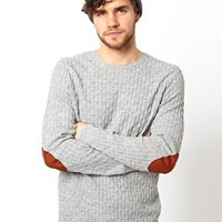 ASOS Cable Knit Jumper with Elbow Patches at asos.com