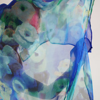 Blue scarf Silk Parisian scarf Sheer floral scarf Flower print Silk evening wrap sheer evening shawl Light blue scarf Sheer blue wrap JOLIE