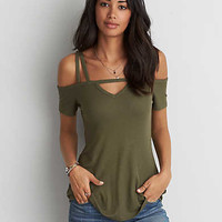 AEO Soft & Sexy Ribbed Cold Shoulder T-Shirt , Leaf Green