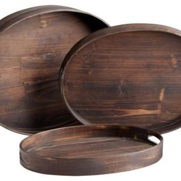 Oval Dupre Trays-Set of 3