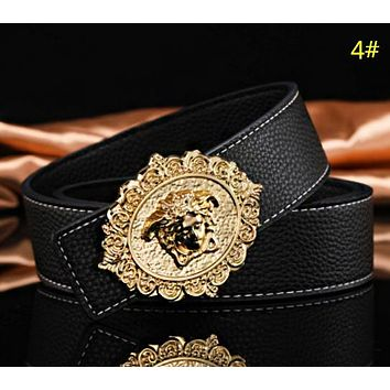 Versace & Hermes Fashion New H Human Head Leather Women Men Leisure Belt 4#