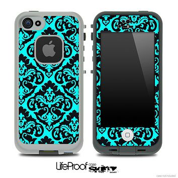 Delicate Pattern Black and Turquoise Skin for the iPhone 5 or 4/4s LifeProof Case