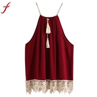 Women Lace Trimmed Tasselled Drawstring Wine Red Tops Shirt