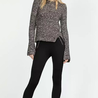 Gray Long-Sleeve Knitted Sweater With Slit