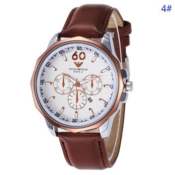 Emporio Armani New fashion leather watchband business casual couple watch 4#