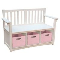 Guidecraft Classic Storage Bench with Baskets - White